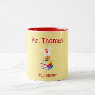 Caneca De Café Em Dois Tons Amarelo e vermelho da apreciação do professor