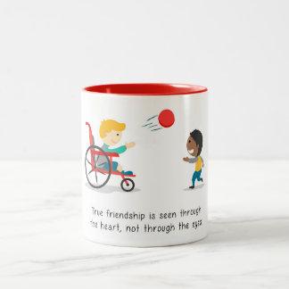 Caneca De Café Em Dois Tons Amizade verdadeiras