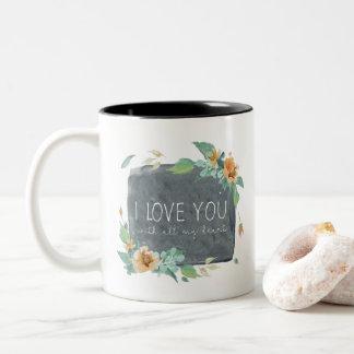 Caneca De Café Em Dois Tons Amor da aguarela do dia das mães você com todo o