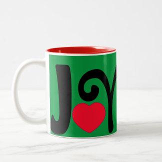 Caneca De Café Em Dois Tons Amor do coração da alegria