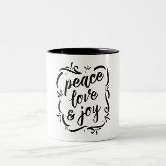 Caneca De Café Em Dois Tons Amor irrisório & alegria da paz