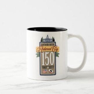 Caneca De Café Em Dois Tons Aniversário de Redwood City 150th