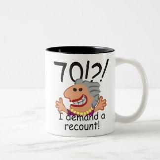 Caneca De Café Em Dois Tons Aniversário engraçado do 70 da descrição