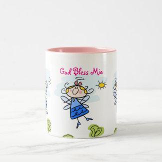 Caneca De Café Em Dois Tons Anjo bonito do Goddaughter personalizado