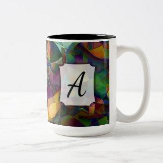 Caneca De Café Em Dois Tons Arte abstracta colorida, Kaleidoscopic com