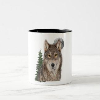Caneca De Café Em Dois Tons arte do lobo