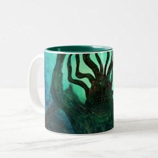 Caneca De Café Em Dois Tons Arte do Wraparound de Lovecraft Cthulhu Mythos