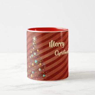 Caneca De Café Em Dois Tons Árvore de Natal da tira dos doces