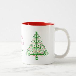 Caneca De Café Em Dois Tons Árvore de Natal de Nouveau da arte