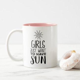 Caneca De Café Em Dois Tons As meninas apenas querem ter o sol!