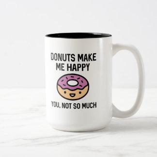 Caneca De Café Em Dois Tons As rosquinhas fazem-me feliz