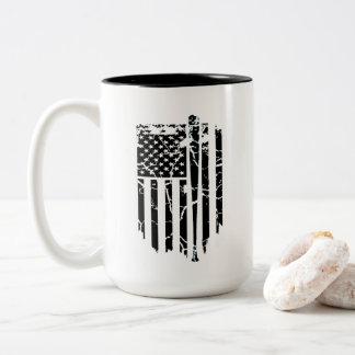 Caneca De Café Em Dois Tons Bandeira americana preto e branco do bastão de