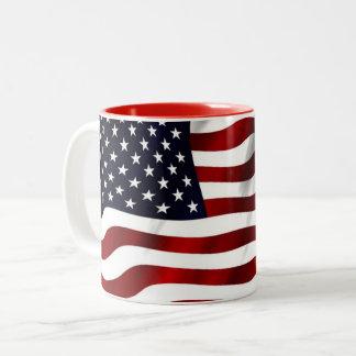 Caneca De Café Em Dois Tons Bandeira dos EUA