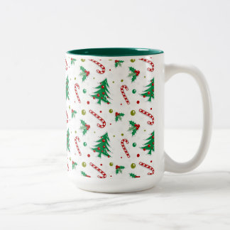 Caneca De Café Em Dois Tons Bastões de doces, visco, e árvores de Natal