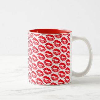 Caneca De Café Em Dois Tons beijos do batom