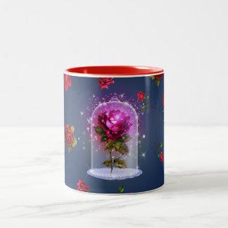 Caneca De Café Em Dois Tons Beleza mágica Enchanted da rosa vermelha & o