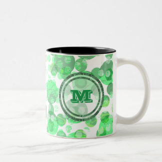 Caneca De Café Em Dois Tons Bolinhas verdes Monongram