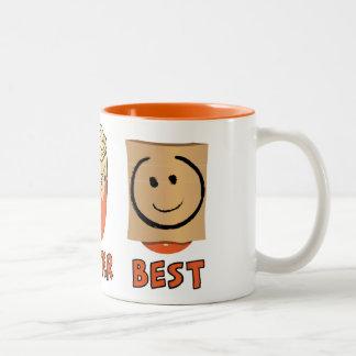 Caneca De Café Em Dois Tons Bom, melhor, melhor