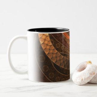 Caneca De Café Em Dois Tons Brown, bronze, vime, e círculos do Fractal do