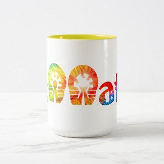 Caneca De Café Em Dois Tons Caçador do arco-íris do café de Fennatic