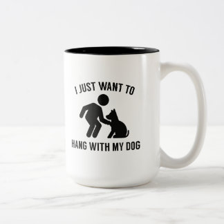 Caneca De Café Em Dois Tons Cair com meu cão