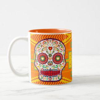 Caneca De Café Em Dois Tons Calavera (ii). Dia do crânio mexicano inoperante