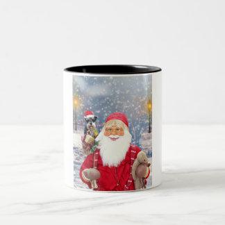 Caneca De Café Em Dois Tons Cão do Schnauzer diminuto do Natal de Papai Noel w