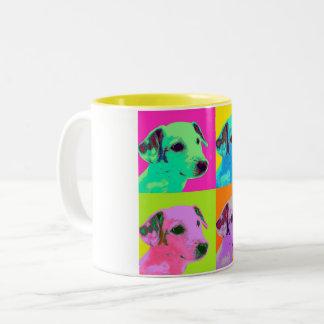 Caneca De Café Em Dois Tons Cão, Terrier. Espécie de pop - animais desenhos