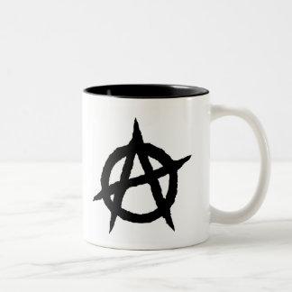 Caneca De Café Em Dois Tons Caos do sinal da cultura da música do punk do