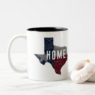 Caneca De Café Em Dois Tons Casa afligida da bandeira de Texas