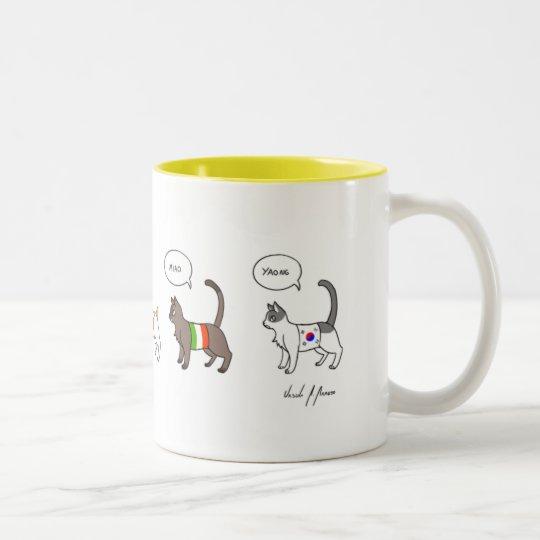 Caneca De Café Em Dois Tons Cat
