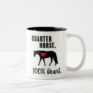 Caneca De Café Em Dois Tons Cavalo de um quarto, 100% coração - prazer