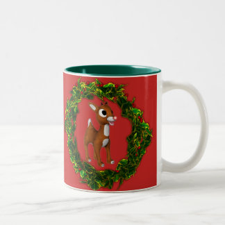 Caneca De Café Em Dois Tons Cervos bonitos e grinalda do Natal