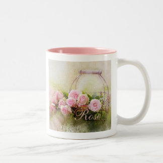 Caneca De Café Em Dois Tons Cesta dos rosas