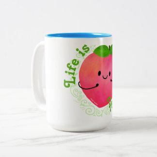 Caneca De Café Em Dois Tons Chalaça positiva do pêssego - Peachy