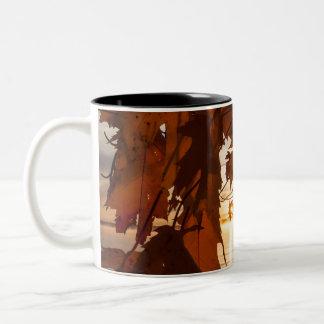 Caneca De Café Em Dois Tons chávena foto folhas de ácer