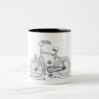 Caneca De Café Em Dois Tons Chávena, Mug, Cup com bicicleta, bicicleta,