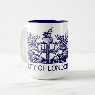 Caneca De Café Em Dois Tons Cidade de Londres, vintage, brasão, Inglaterra
