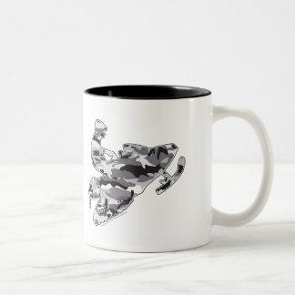 Caneca De Café Em Dois Tons Cinza Snowmobiler da camuflagem
