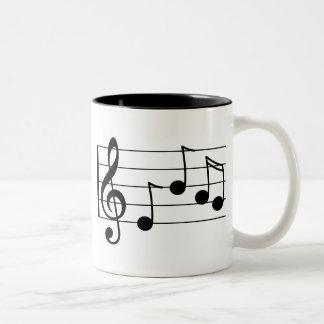 Caneca De Café Em Dois Tons Clef e funcionarios de triplo da notação musical