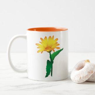 Caneca De Café Em Dois Tons Copo com imagem da camomila amarela