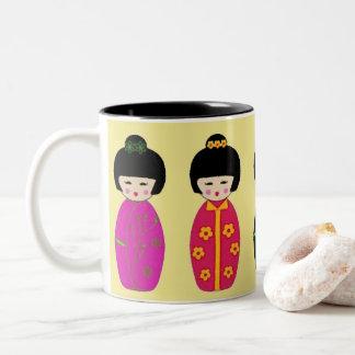 Caneca De Café Em Dois Tons Copo de café chinês das meninas