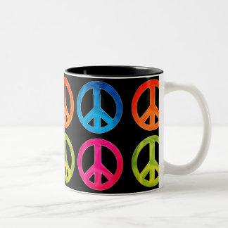 Caneca De Café Em Dois Tons Copo de café do sinal de paz