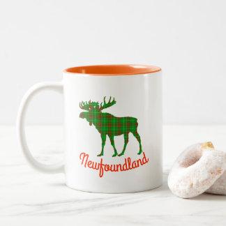 Caneca De Café Em Dois Tons Copo de café dos alces do tartan de Terra Nova