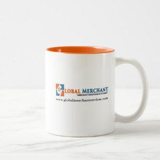 Caneca De Café Em Dois Tons Copo de café global dos serviços mercantes
