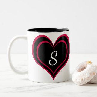 Caneca De Café Em Dois Tons Coração brilhante do rosa quente e do preto com