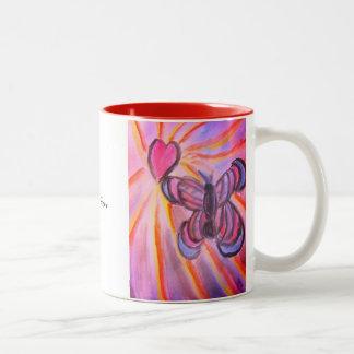 Caneca De Café Em Dois Tons Coração da borboleta