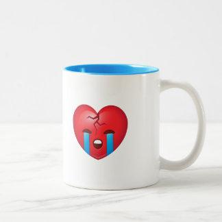 Caneca De Café Em Dois Tons Coração quebrado de grito Emoji