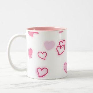 Caneca De Café Em Dois Tons Corações