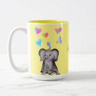 Caneca De Café Em Dois Tons Corações do elefante pelos Feliz Juul Empresa